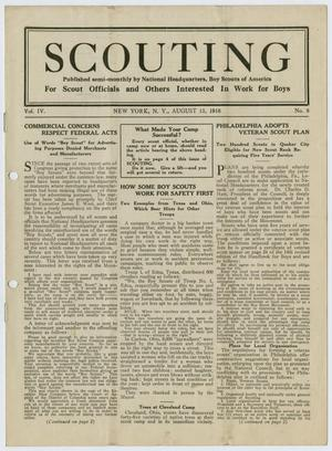 Primary view of object titled 'Scouting, Volume 4, Number 8, August 15, 1916'.