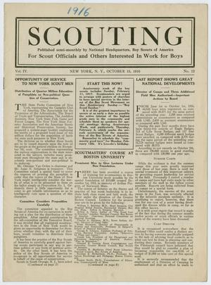 Primary view of object titled 'Scouting, Volume 4, Number 12, October 15, 1916'.