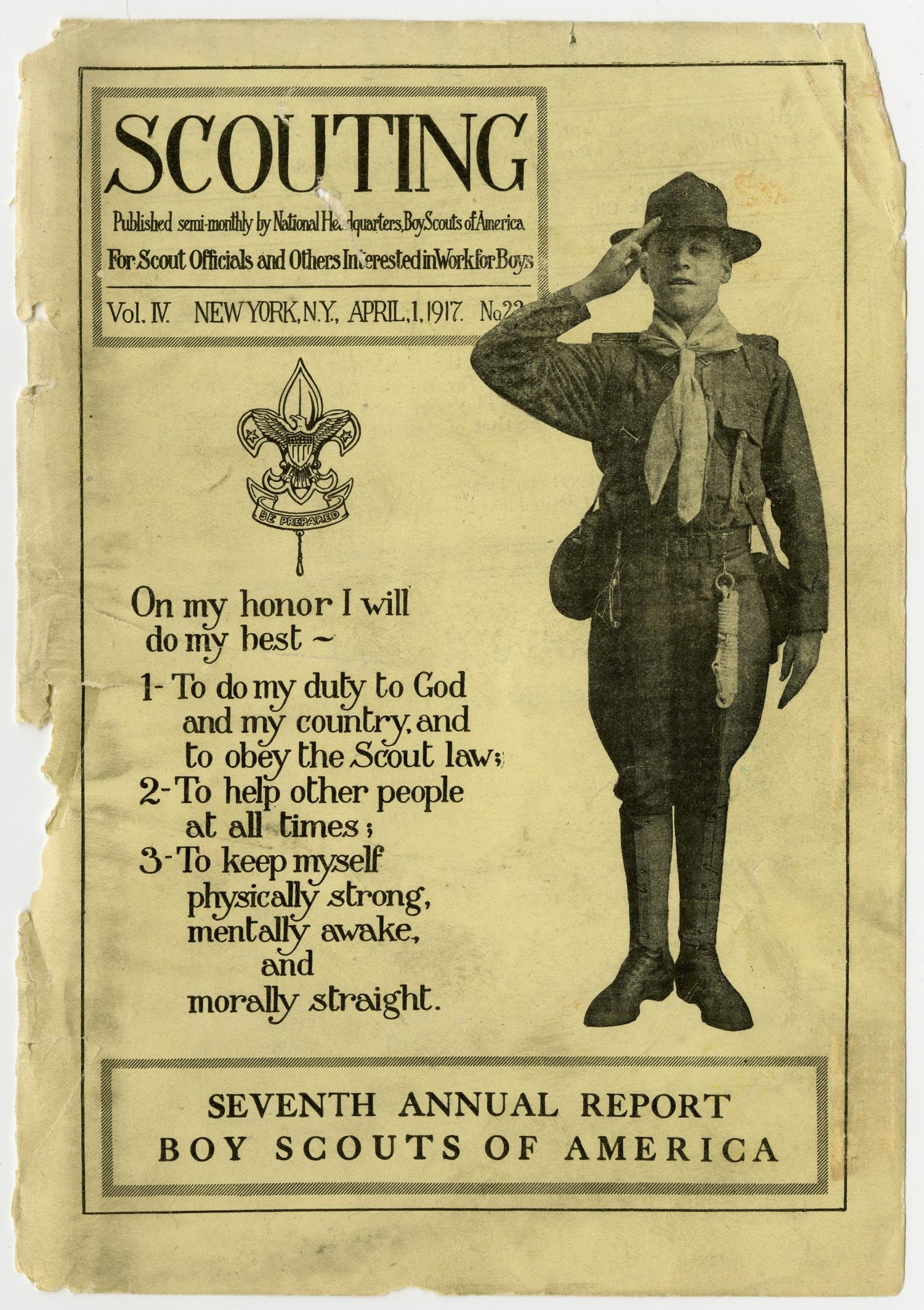 Scouting, Volume 4, Number 22, April 1, 1917                                                                                                      Front Cover