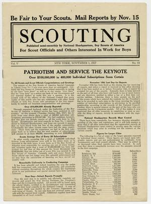 Primary view of object titled 'Scouting, Volume 5, Number 13, November 1, 1917'.