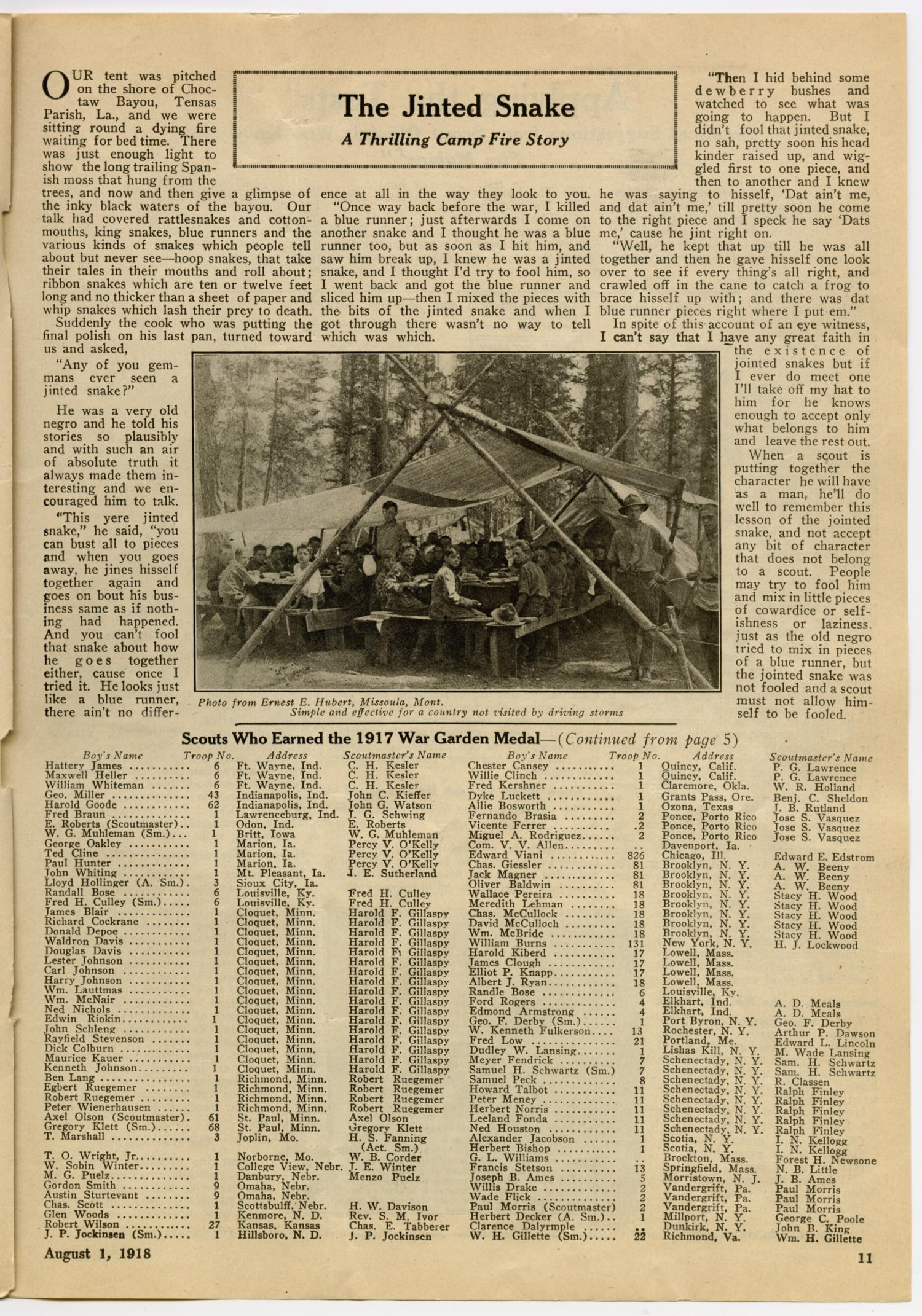 Scouting, Volume 6, Number 15, August 1, 1918 - Page 11