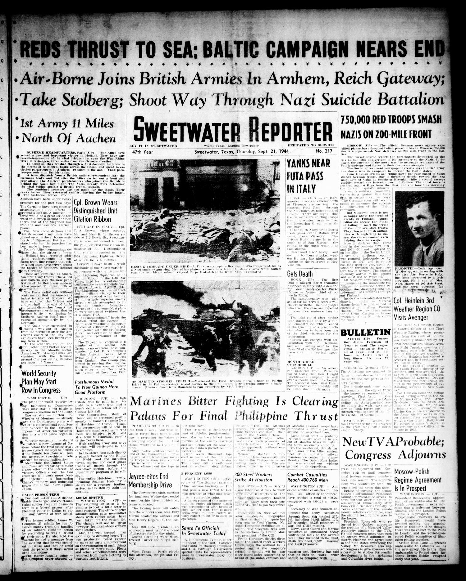 Sweetwater Reporter (Sweetwater, Tex.), Vol. 47, No. 217, Ed. 1 Thursday, September 21, 1944                                                                                                      [Sequence #]: 1 of 8