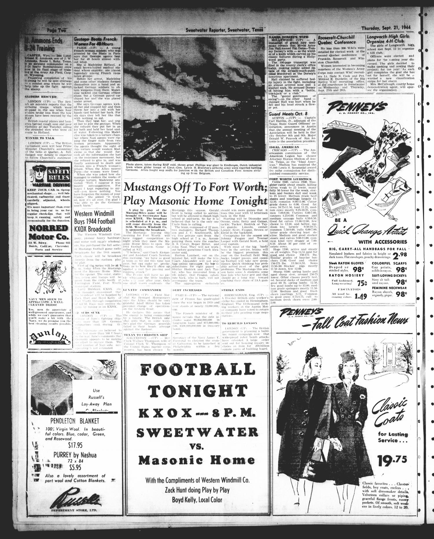 Sweetwater Reporter (Sweetwater, Tex.), Vol. 47, No. 217, Ed. 1 Thursday, September 21, 1944                                                                                                      [Sequence #]: 2 of 8