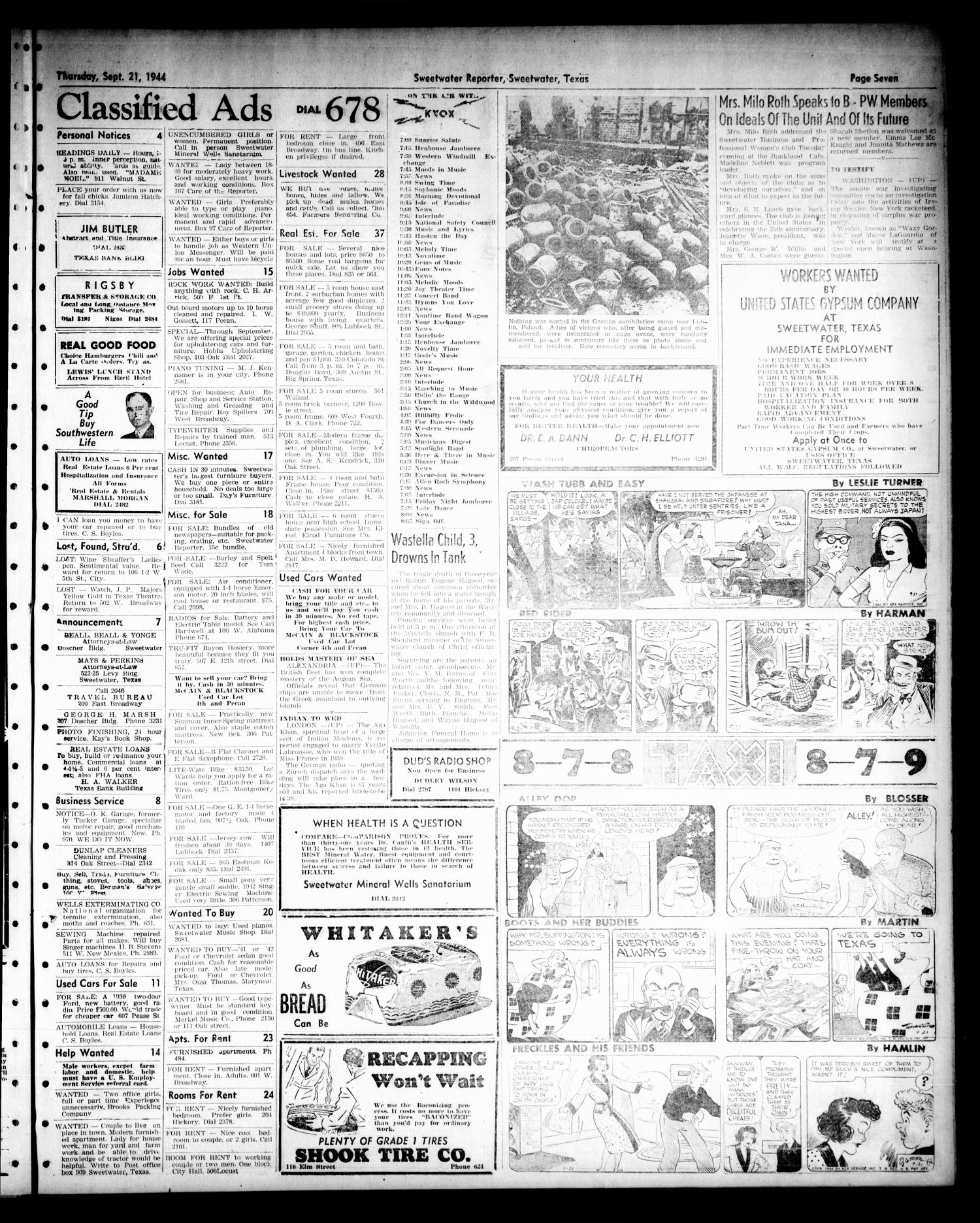 Sweetwater Reporter (Sweetwater, Tex.), Vol. 47, No. 217, Ed. 1 Thursday, September 21, 1944                                                                                                      [Sequence #]: 7 of 8