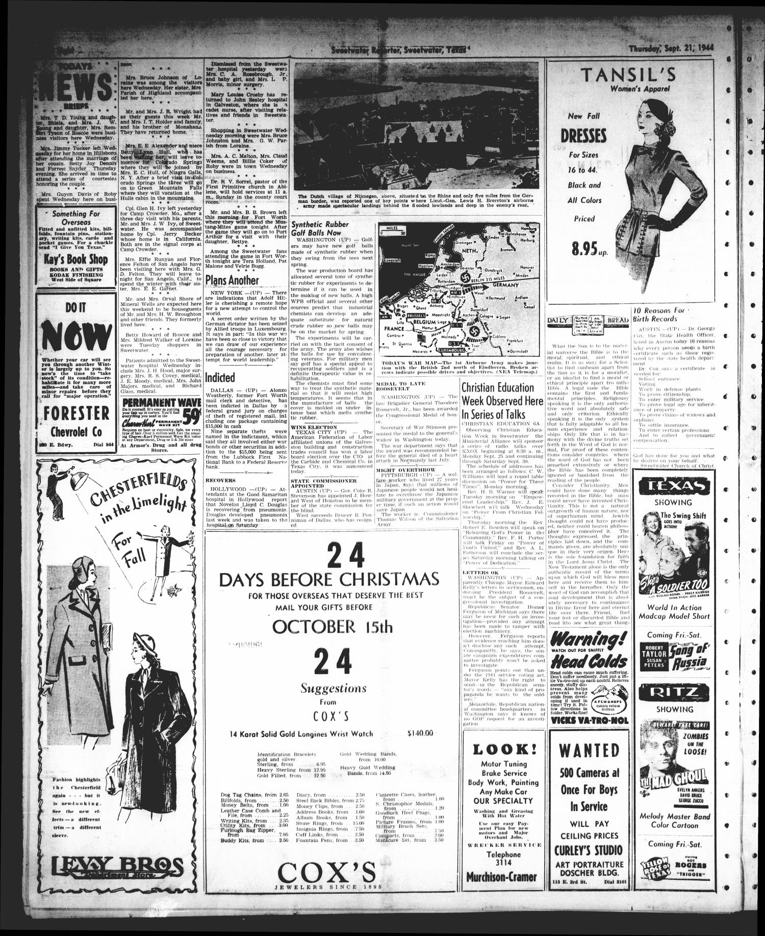 Sweetwater Reporter (Sweetwater, Tex.), Vol. 47, No. 217, Ed. 1 Thursday, September 21, 1944                                                                                                      [Sequence #]: 8 of 8