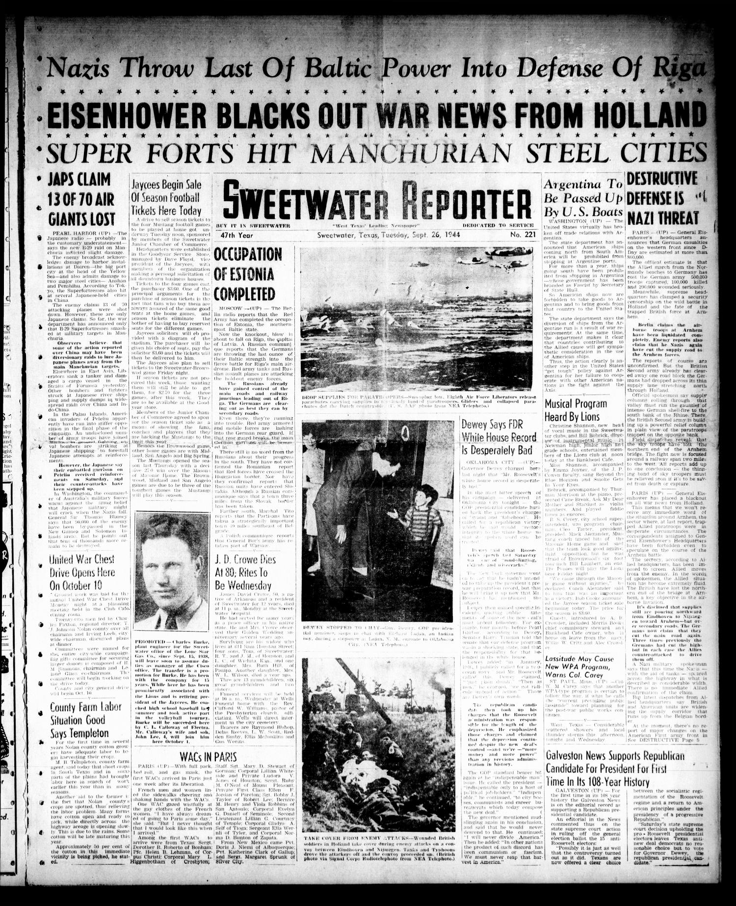 Sweetwater Reporter (Sweetwater, Tex.), Vol. 47, No. 221, Ed. 1 Tuesday, September 26, 1944                                                                                                      [Sequence #]: 1 of 6