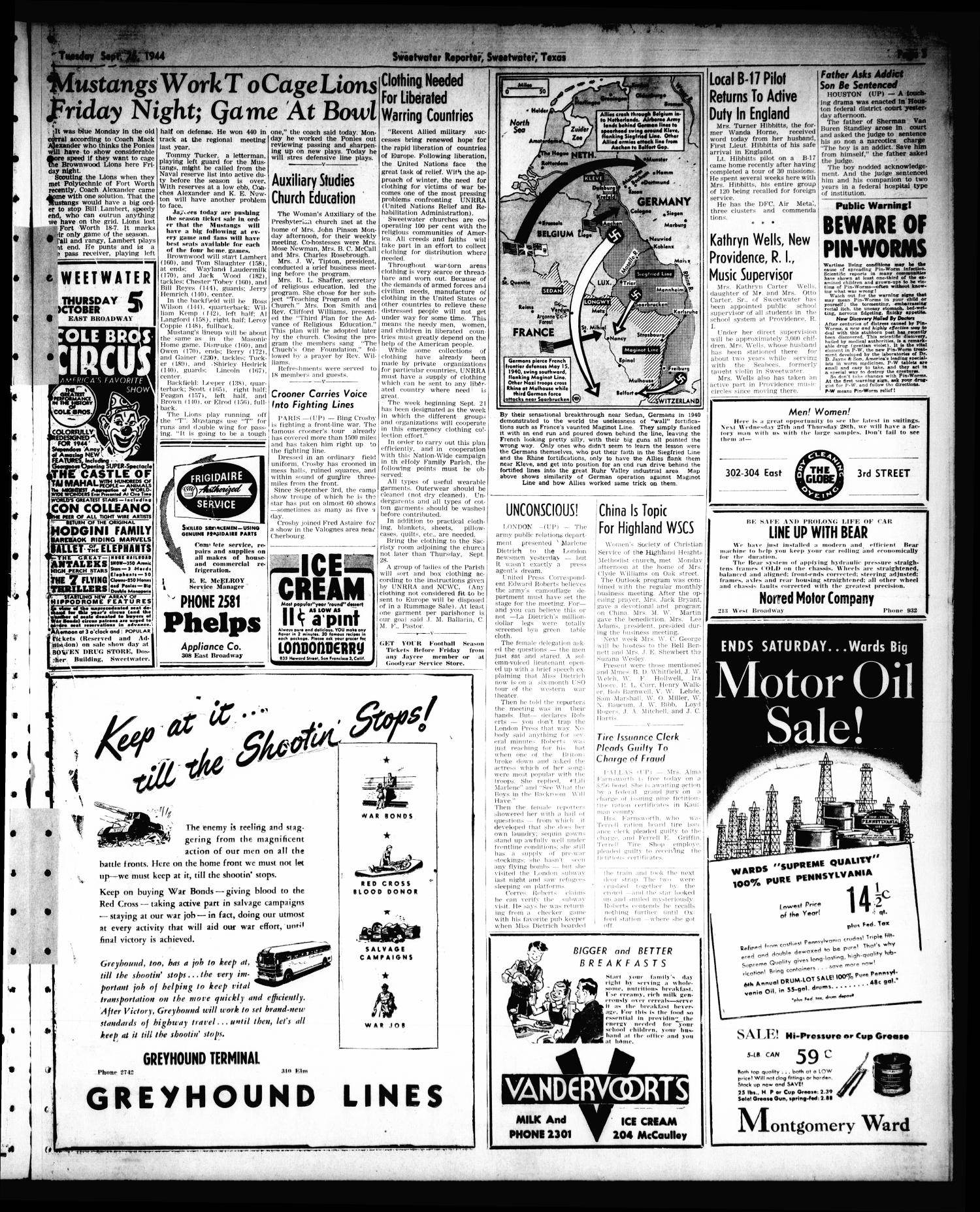 Sweetwater Reporter (Sweetwater, Tex.), Vol. 47, No. 221, Ed. 1 Tuesday, September 26, 1944                                                                                                      [Sequence #]: 3 of 6
