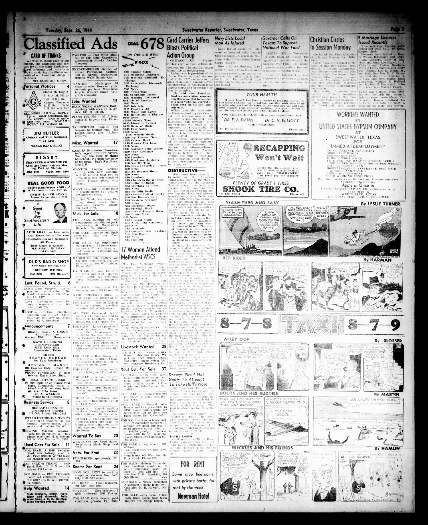Sweetwater Reporter (Sweetwater, Tex.), Vol. 47, No. 221, Ed. 1 Tuesday, September 26, 1944                                                                                                      [Sequence #]: 5 of 6
