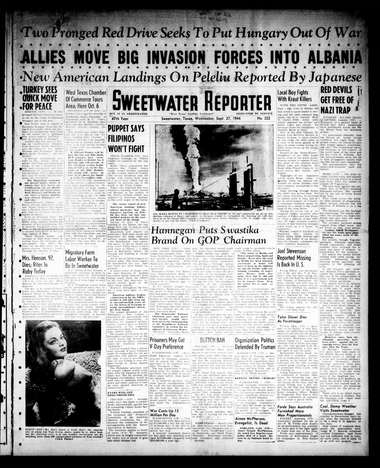 Sweetwater Reporter (Sweetwater, Tex.), Vol. 47, No. 222, Ed. 1 Wednesday, September 27, 1944                                                                                                      [Sequence #]: 1 of 6