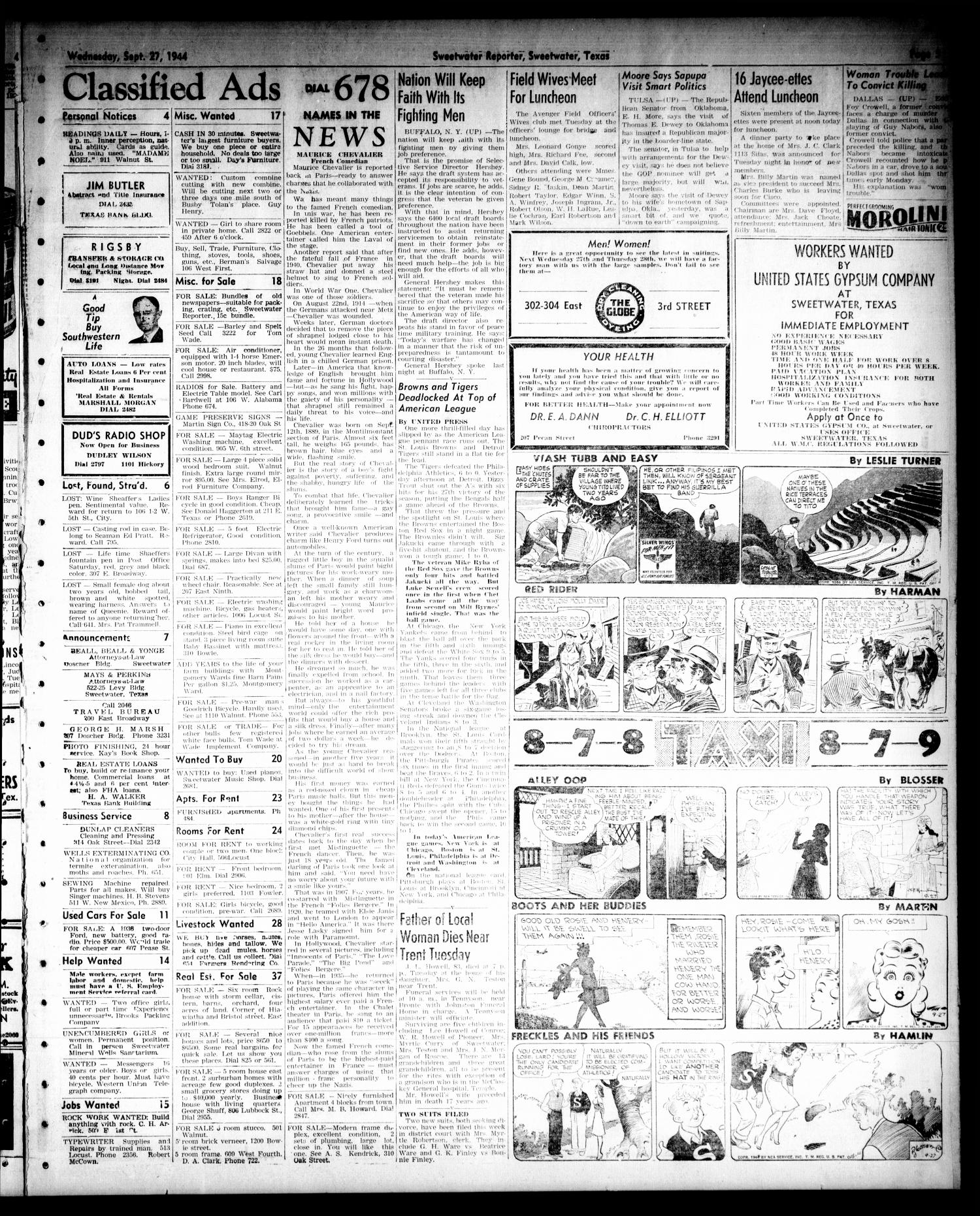 Sweetwater Reporter (Sweetwater, Tex.), Vol. 47, No. 222, Ed. 1 Wednesday, September 27, 1944                                                                                                      [Sequence #]: 5 of 6
