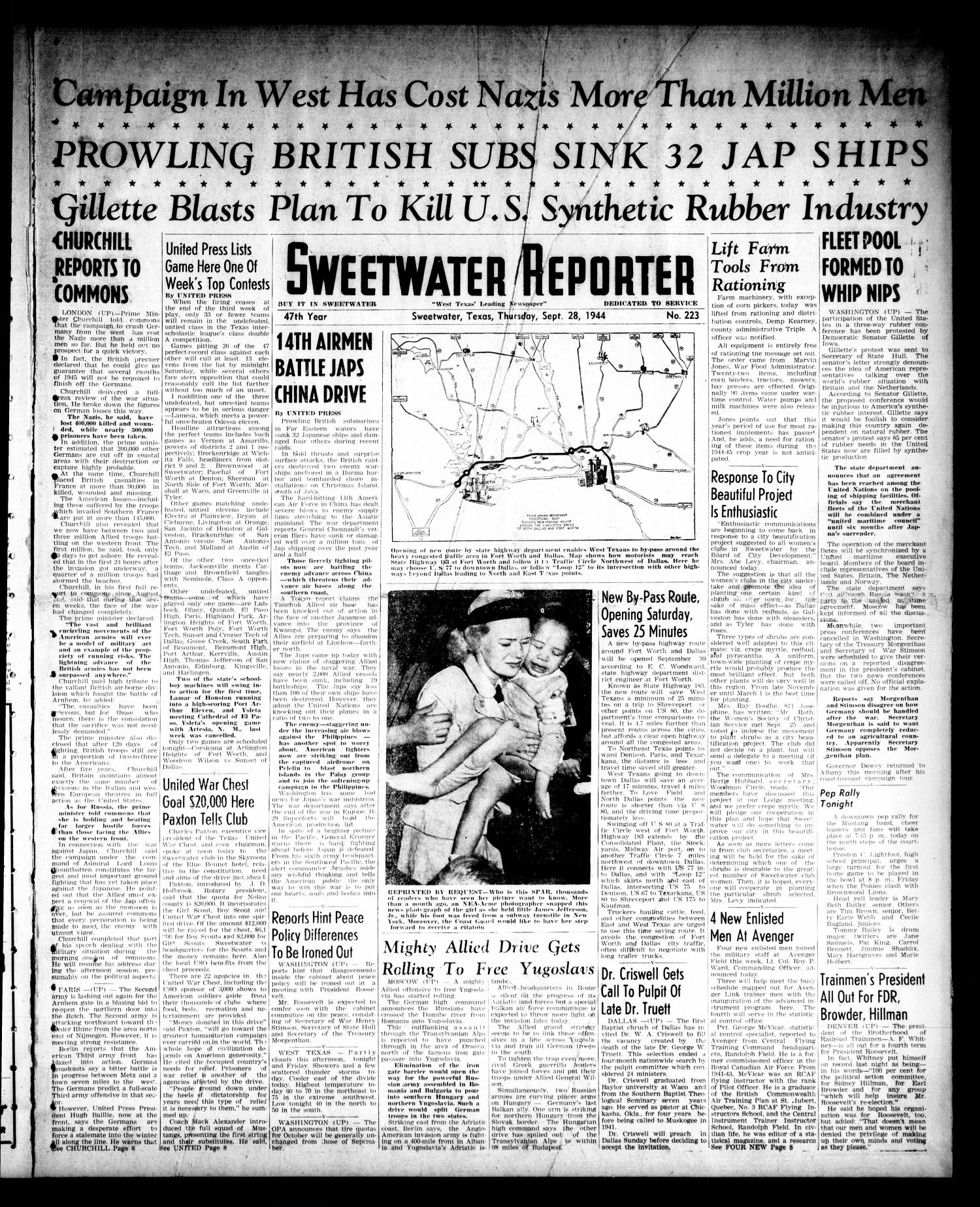 Sweetwater Reporter (Sweetwater, Tex.), Vol. 47, No. 223, Ed. 1 Thursday, September 28, 1944                                                                                                      [Sequence #]: 1 of 9