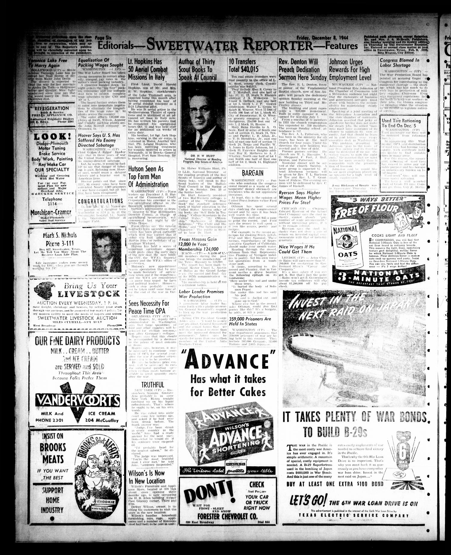 Sweetwater Reporter (Sweetwater, Tex.), Vol. 47, No. 273, Ed. 1 Friday, December 8, 1944                                                                                                      [Sequence #]: 6 of 8