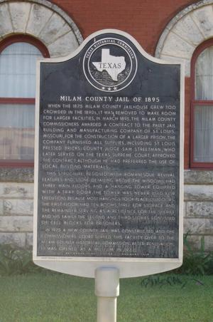 Primary view of object titled 'Historic plaque, Milam County Jail of 1895'.