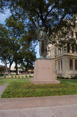 Primary view of object titled 'Ben Milam statue, Milam County Courthouse grounds'.
