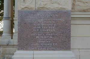 Primary view of object titled 'Milam County Courthouse, detail of cornerstone'.
