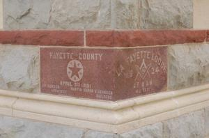 Primary view of object titled 'Fayette County Courthouse, cornerstone detail'.