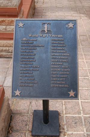 Primary view of object titled 'Fayette County World War I Veterans plaque'.