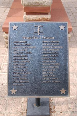 Fayette County World War I Veterans plaque