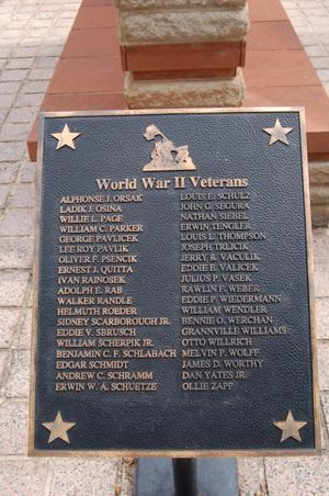Primary view of object titled 'Fayette County World War II Veterans plaque'.
