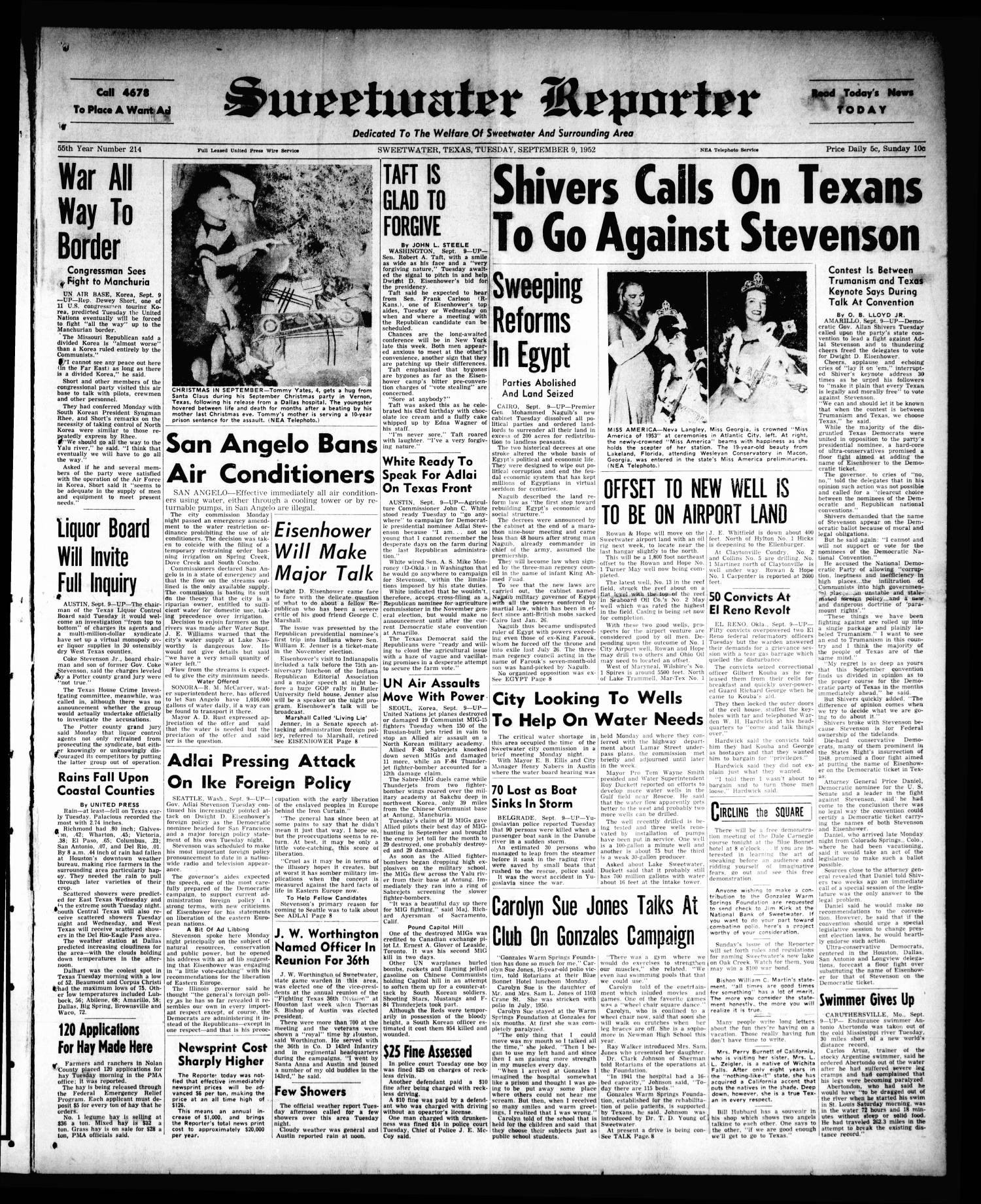 Sweetwater Reporter (Sweetwater, Tex.), Vol. 55, No. 214, Ed. 1 Tuesday, September 9, 1952                                                                                                      [Sequence #]: 1 of 8