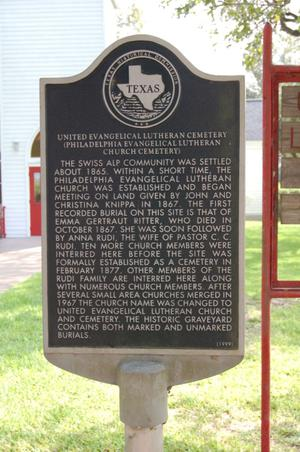 Primary view of object titled 'Historic Plaque, United Evangelical Lutheran Cemetery'.