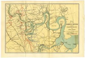 Primary view of object titled 'Map of the James River from Chaffin's Bluff to City Point'.