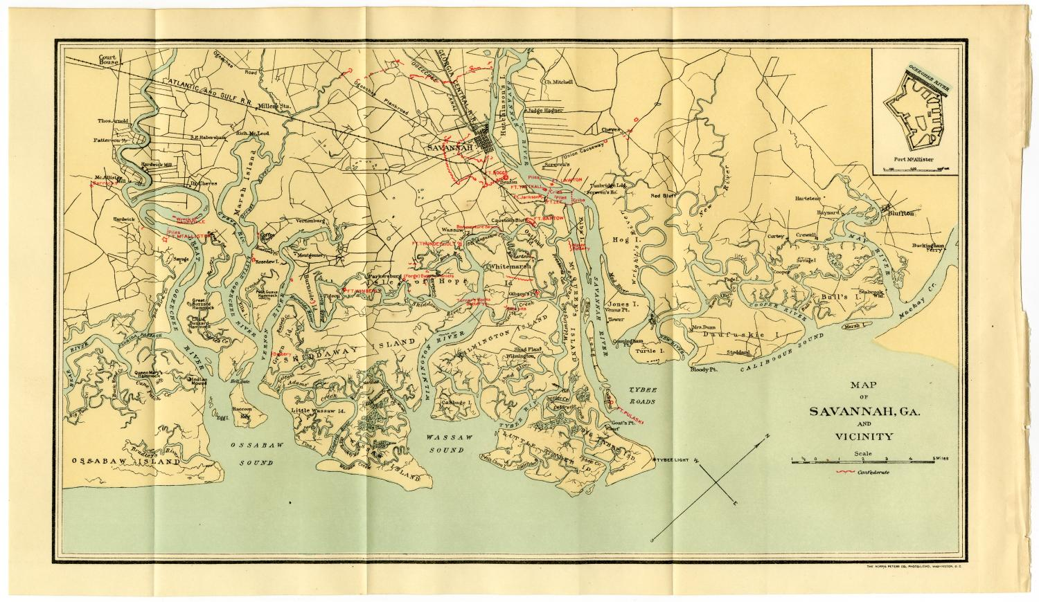 Map of Savannah, Georgia, and Vicinity                                                                                                      [Sequence #]: 1 of 2
