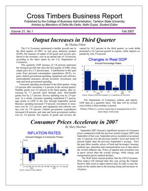 Primary view of object titled 'Cross Timbers Business Report, Volume 21, Number 1, Fall 2007'.