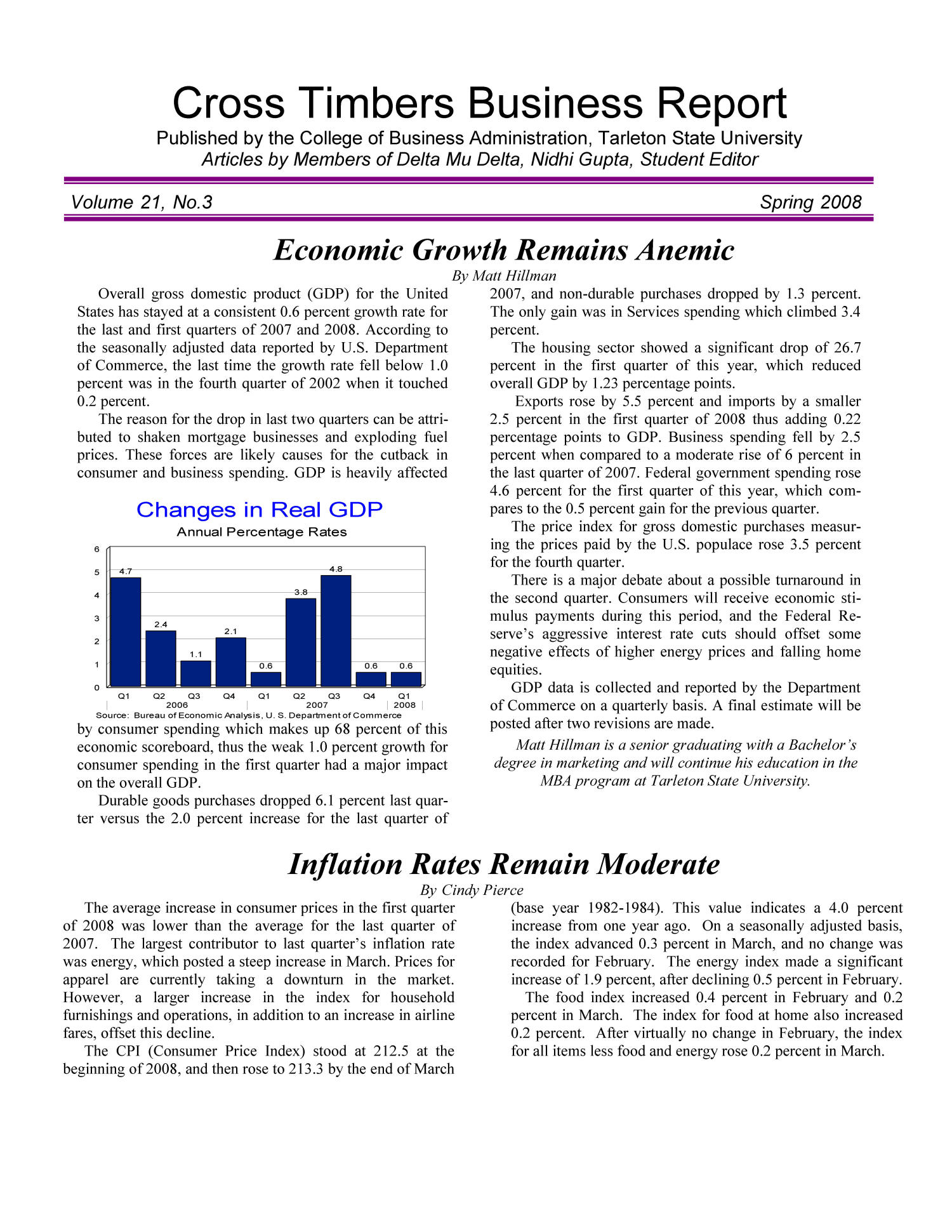 Cross Timbers Business Report, Volume 21, Number 3, Spring 2008                                                                                                      1