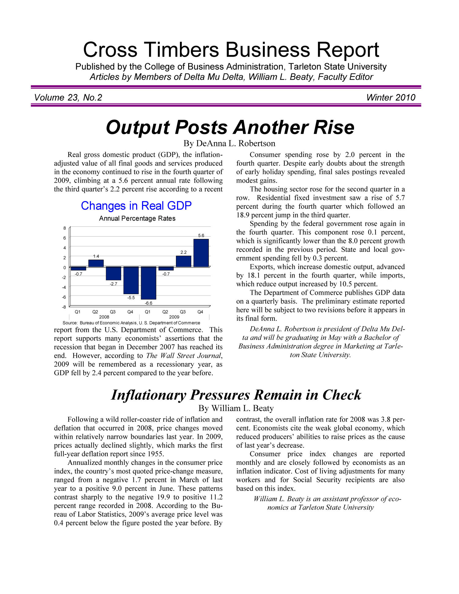 Cross Timbers Business Report, Volume 23, Number 2, Winter 2010                                                                                                      1