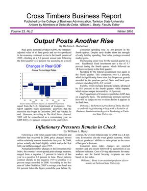 Primary view of object titled 'Cross Timbers Business Report, Volume 23, Number 2, Winter 2010'.