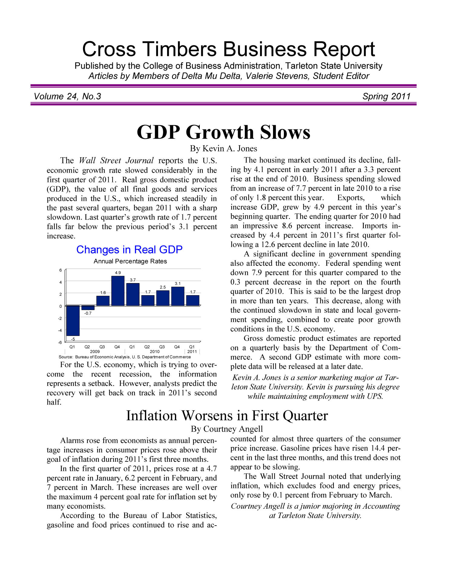 Cross Timbers Business Report, Volume 24, Number 3, Spring 2011                                                                                                      1