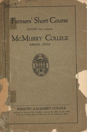Bulletin of McMurry College, August [1923]
