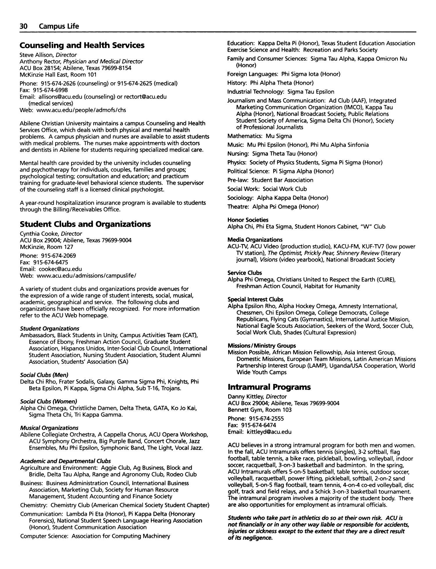 Catalog Of Abilene Christian University 2001 2002 Page 30 The