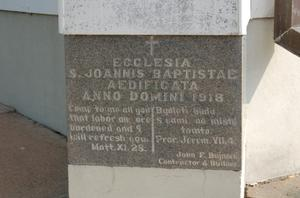 Primary view of object titled 'St. John the Baptist Catholic Church, detail of cornerstone'.