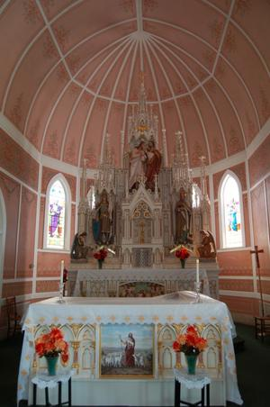 Primary view of object titled 'St. John the Baptist Catholic Church, detail of apse and reredo'.
