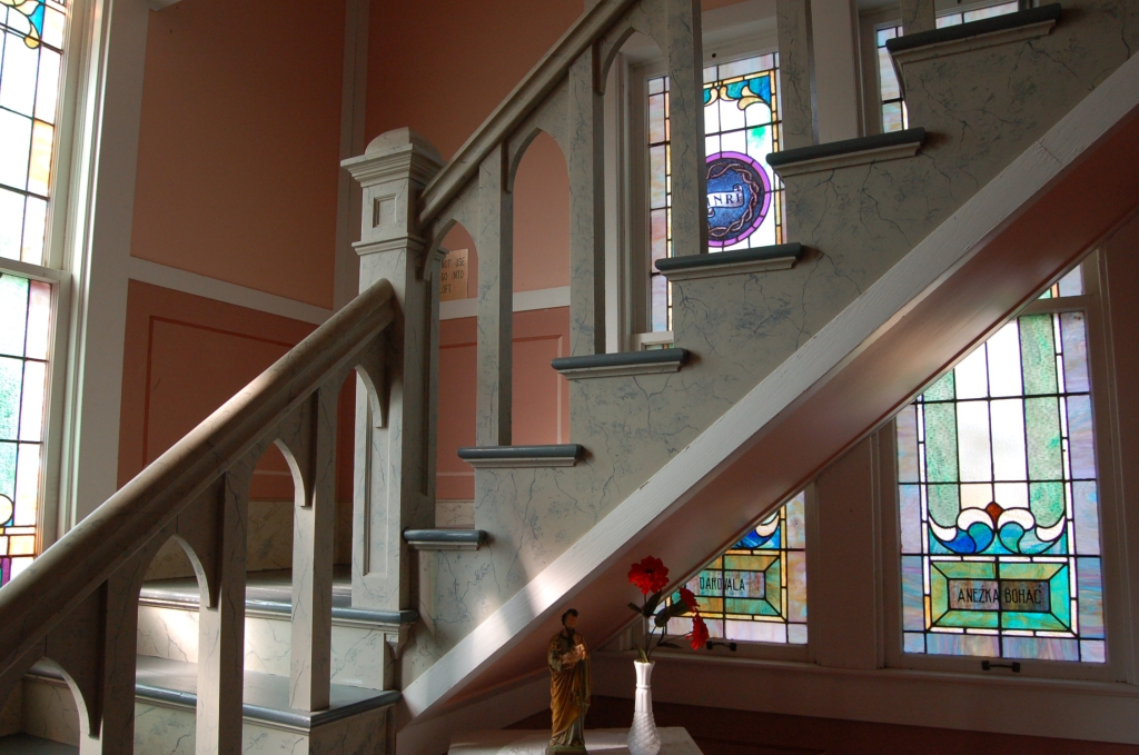 St. John the Baptist Catholic Church, detail of stairway                                                                                                      [Sequence #]: 1 of 1