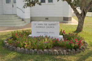 Primary view of object titled 'St. John the Baptist Catholic Church, Ammannsville, Texas sign'.