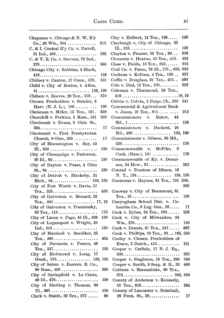 Cases argued and decided in the Supreme Court of the State of Texas, during the latter part of the Austin term, 1884, and the Tyler term, 1884.  Volume 62.                                                                                                      XI