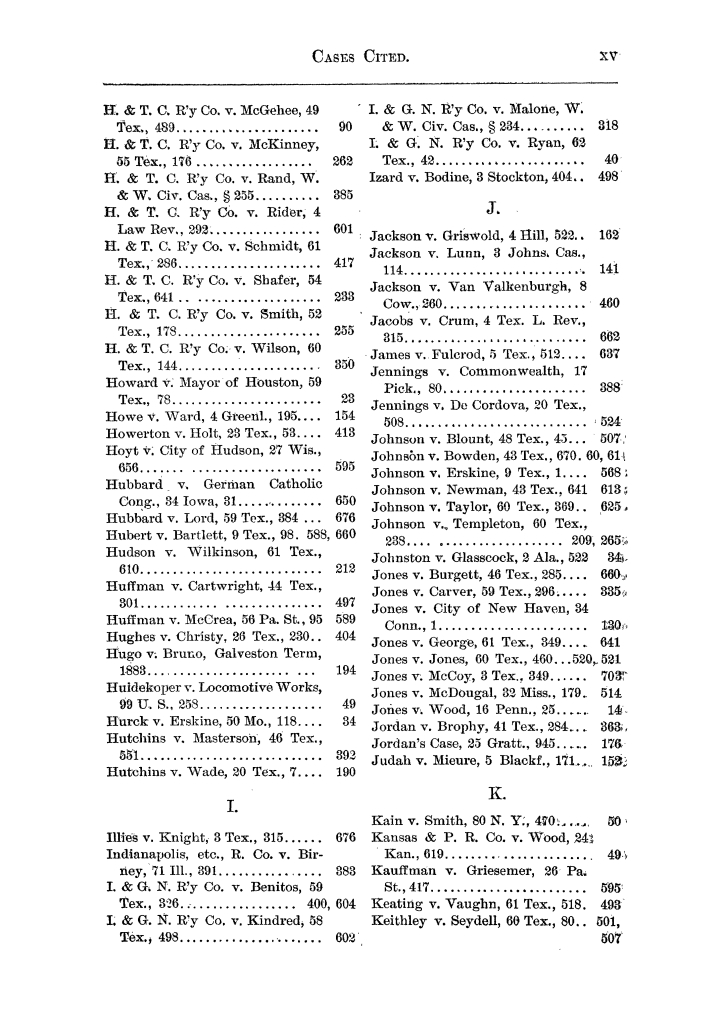 Cases argued and decided in the Supreme Court of the State of Texas, during the latter part of the Austin term, 1884, and the Tyler term, 1884.  Volume 62.                                                                                                      XV