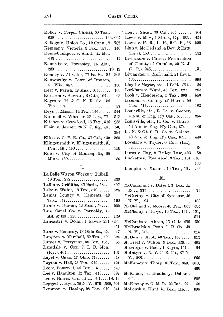 Cases argued and decided in the Supreme Court of the State of Texas, during the latter part of the Austin term, 1884, and the Tyler term, 1884.  Volume 62.                                                                                                      XVI
