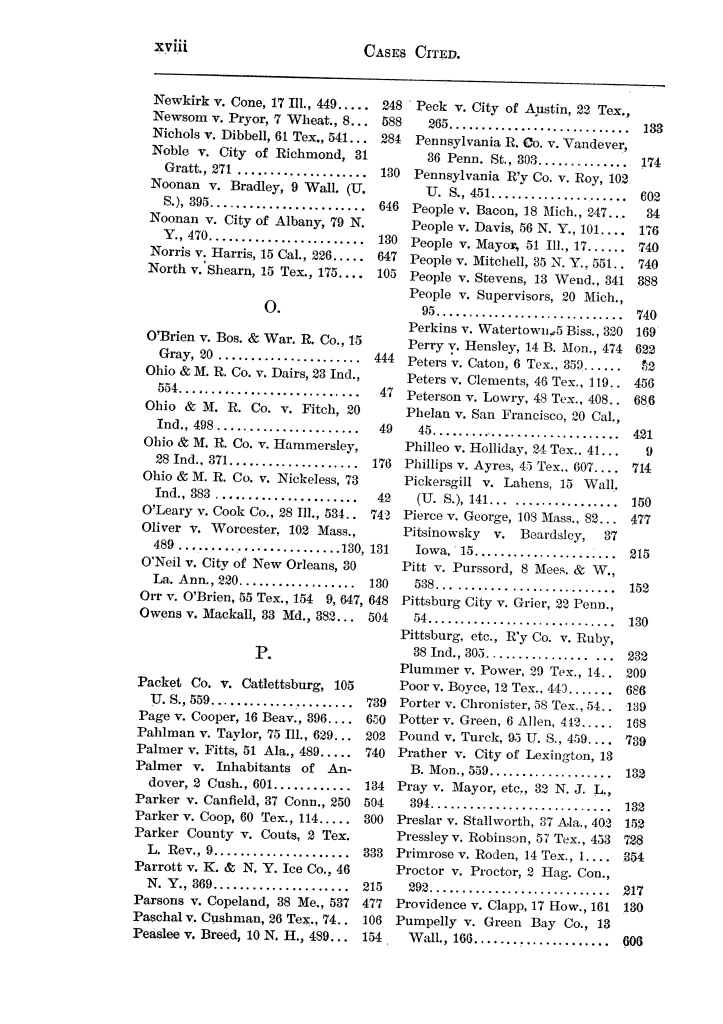Cases argued and decided in the Supreme Court of the State of Texas, during the latter part of the Austin term, 1884, and the Tyler term, 1884.  Volume 62.                                                                                                      XVIII