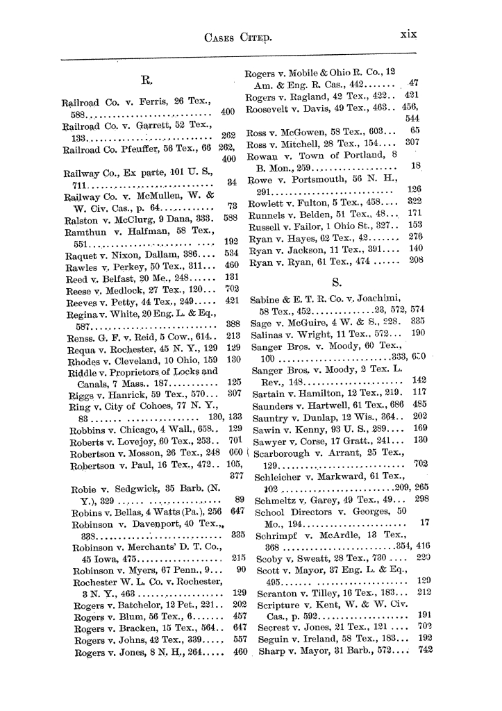Cases argued and decided in the Supreme Court of the State of Texas, during the latter part of the Austin term, 1884, and the Tyler term, 1884.  Volume 62.                                                                                                      XIX