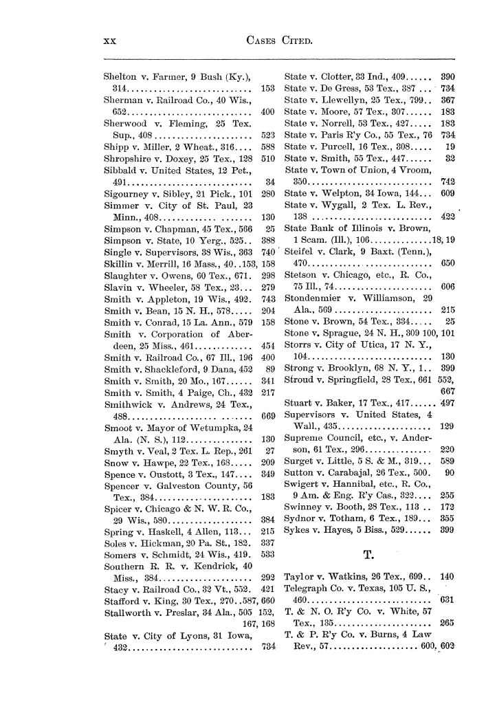 Cases argued and decided in the Supreme Court of the State of Texas, during the latter part of the Austin term, 1884, and the Tyler term, 1884.  Volume 62.                                                                                                      XX