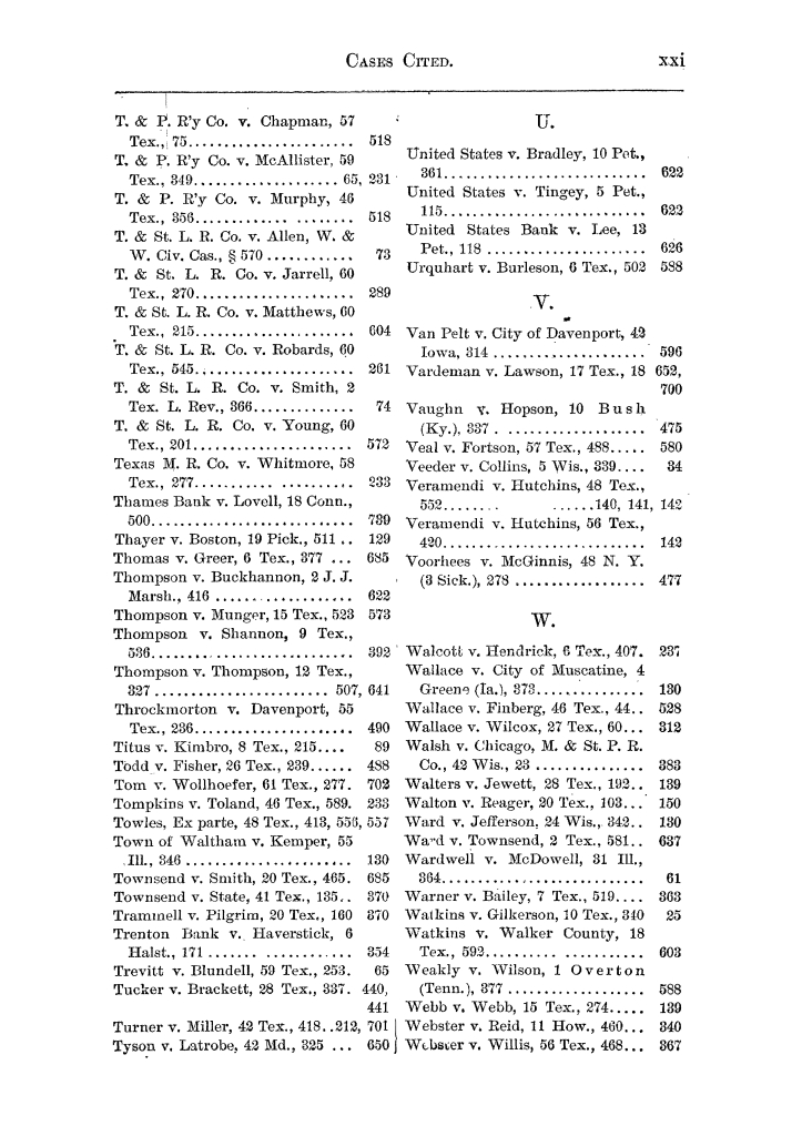 Cases argued and decided in the Supreme Court of the State of Texas, during the latter part of the Austin term, 1884, and the Tyler term, 1884.  Volume 62.                                                                                                      XXI