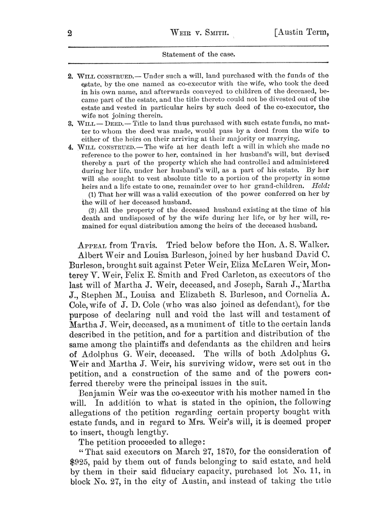 Cases argued and decided in the Supreme Court of the State of Texas, during the latter part of the Austin term, 1884, and the Tyler term, 1884.  Volume 62.                                                                                                      2