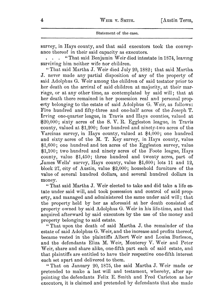 Cases argued and decided in the Supreme Court of the State of Texas, during the latter part of the Austin term, 1884, and the Tyler term, 1884.  Volume 62.                                                                                                      4