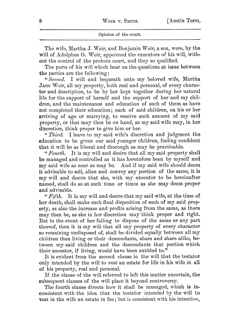 Cases argued and decided in the Supreme Court of the State of Texas, during the latter part of the Austin term, 1884, and the Tyler term, 1884.  Volume 62.                                                                                                      8