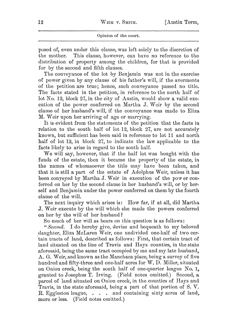 Cases argued and decided in the Supreme Court of the State of Texas, during the latter part of the Austin term, 1884, and the Tyler term, 1884.  Volume 62.                                                                                                      12