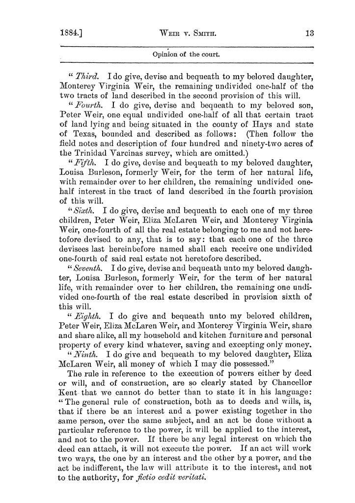 Cases argued and decided in the Supreme Court of the State of Texas, during the latter part of the Austin term, 1884, and the Tyler term, 1884.  Volume 62.                                                                                                      13